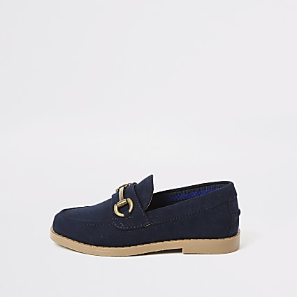 Mini boys navy snaffle loafers