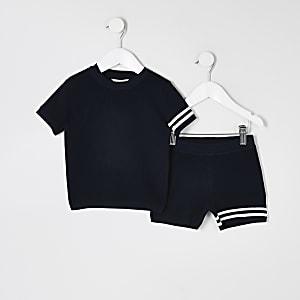Mini – Marineblaues Strickoutfit mit T-Shirt mit Streifen für Jungen