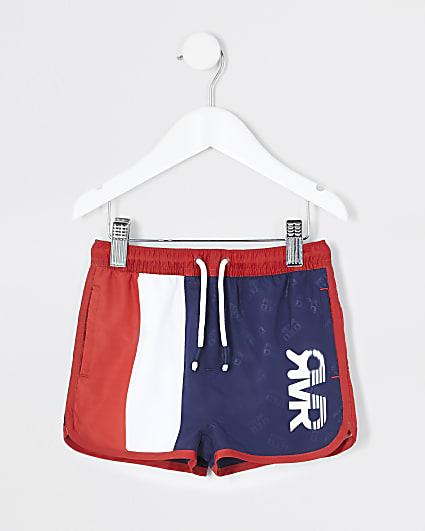 Mini boys navy stripe RVR swim shorts