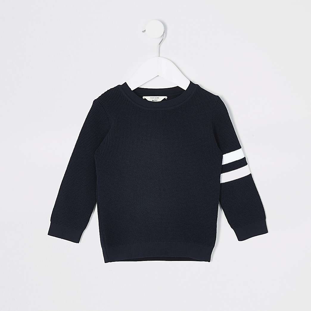 Mini boys navy stripe sleeve knitted jumper
