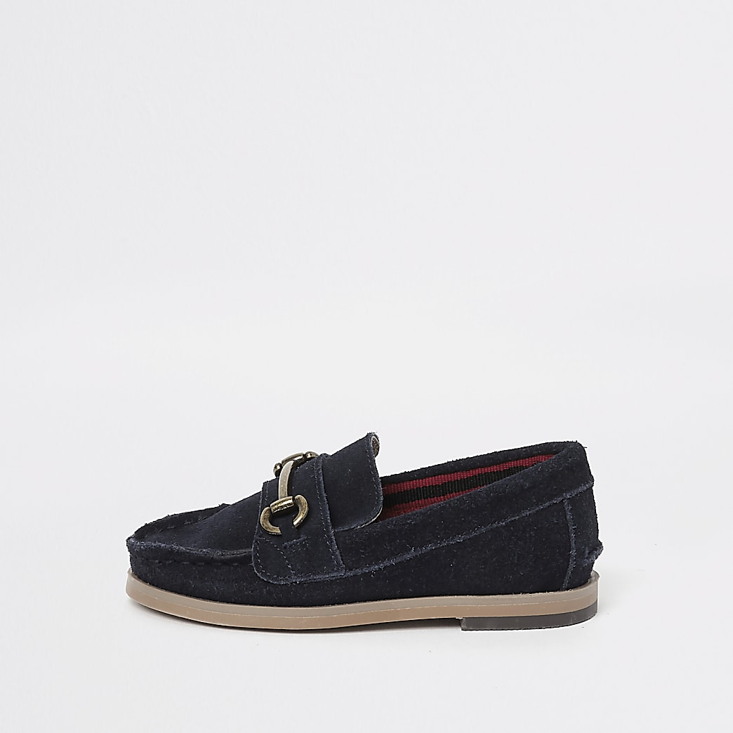 Mini boys navy suede snaffle loafers