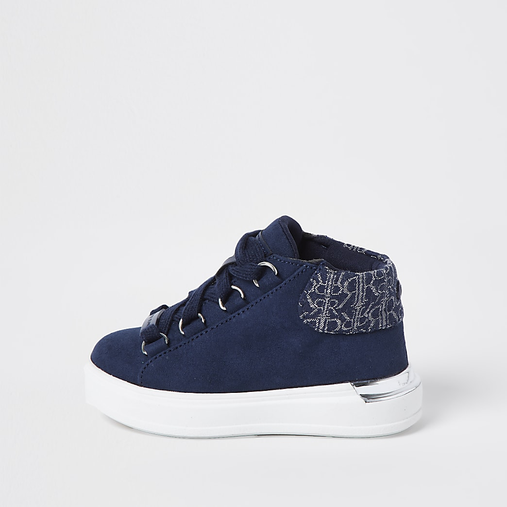 Mini boys navy suedette hi top trainers