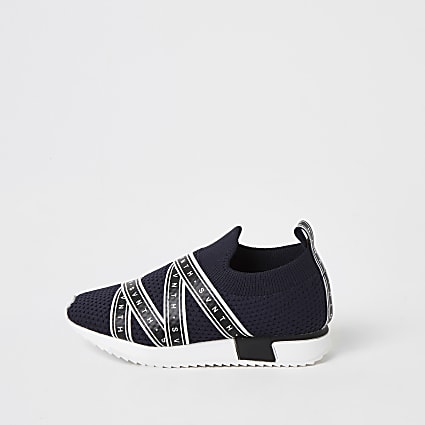 Mini boys navy SVNTH knitted trainers