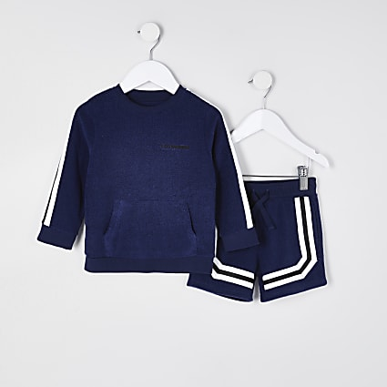 Mini boys navy sweatshirt & short outfit