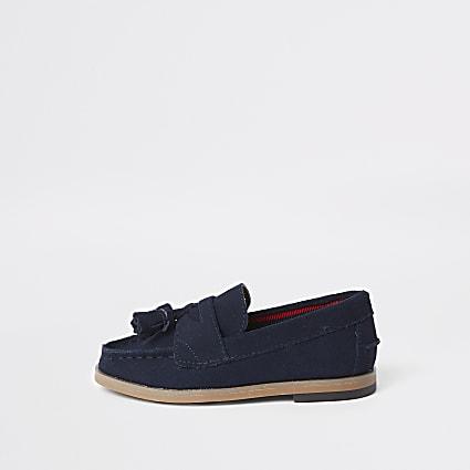 Mini boys navy tassel loafers