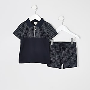 Mini – Marineblaues Poloshirt-Outfit mit Struktur