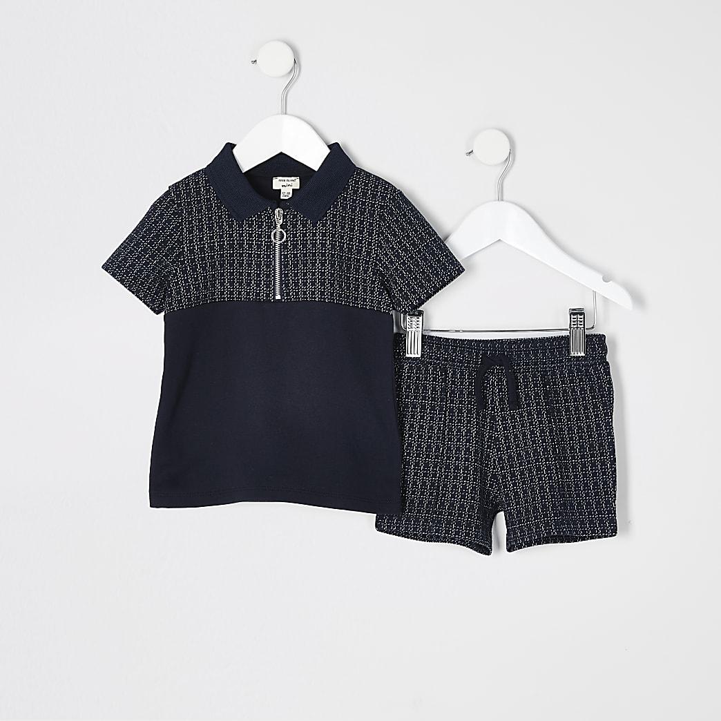 Mini - Marineblauwe outfit met poloshirt met halve rits en textuur voor jongens