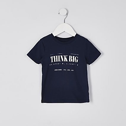 Mini boys navy 'Think Big' print t-shirt
