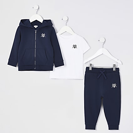 Mini boys navy three piece tracksuit