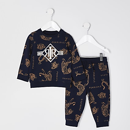 Mini boys navy tiger print outfit