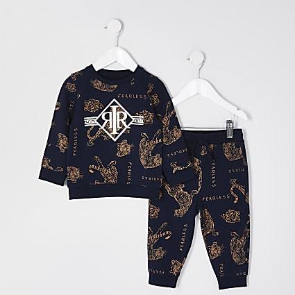 Mini boys navy tiger print outfit