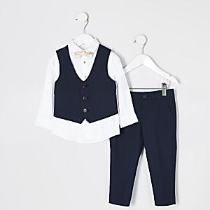 Mini - Marineblauwe broek en kostuum outfit voor jongens