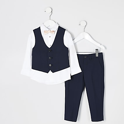 Mini boys navy trouser suit outfit
