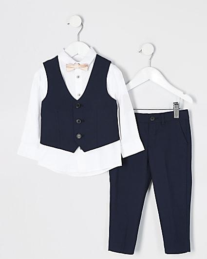 Mini boys navy trouser suit outfit