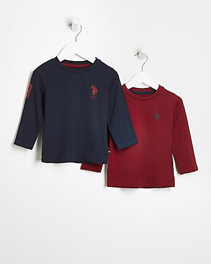 Mini boys navy USPA long sleeve tops 2 pack