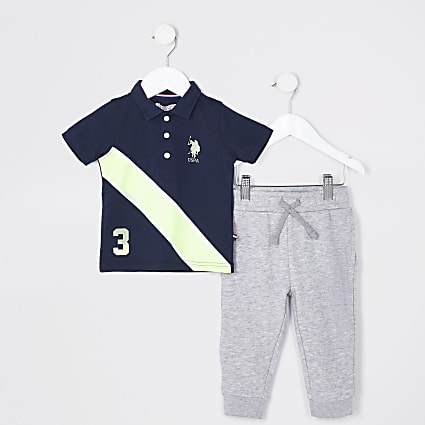 Mini boys navy USPA polo shirt outfit