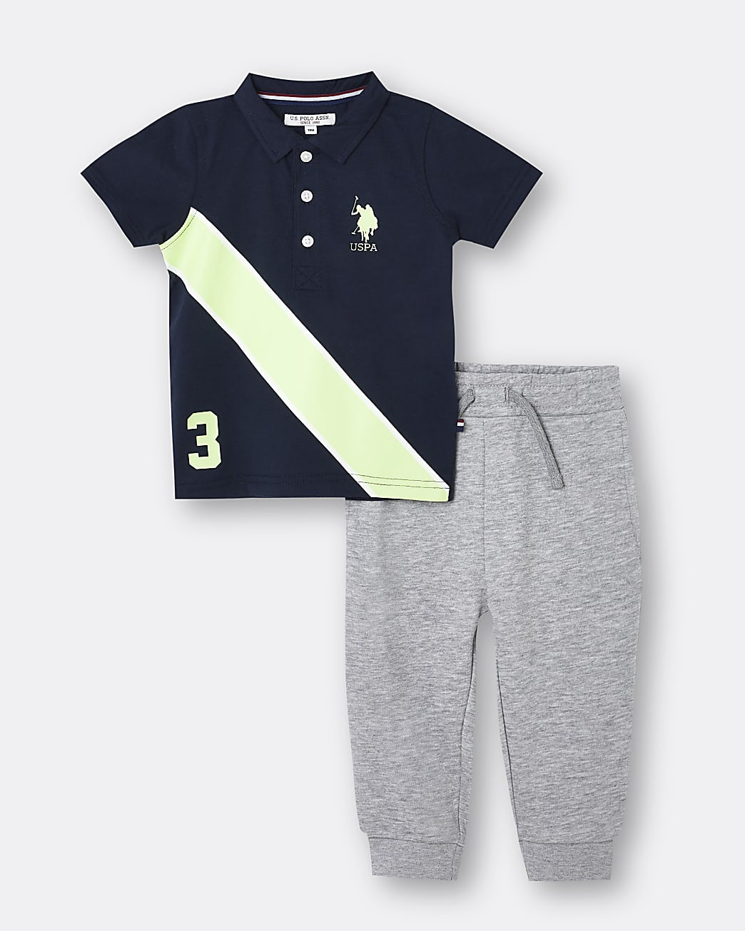 Mini boys navy USPA polo shirt outfit