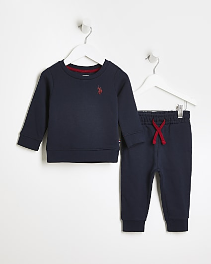 Mini boys navy USPA sweatshirt and joggers