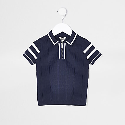 Mini boys navy waffle stitch polo shirt