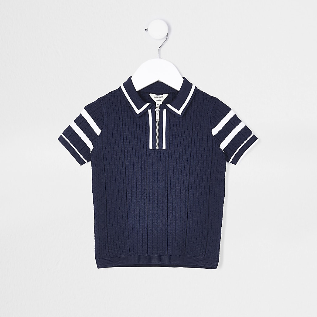 Mini boys navy waffle stitch polo shirt