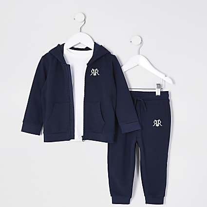 Mini boys navy zip up hoody 3 piece set