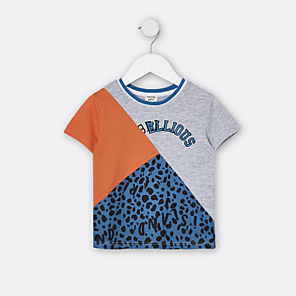 Mini boys orange animal print t-shirt