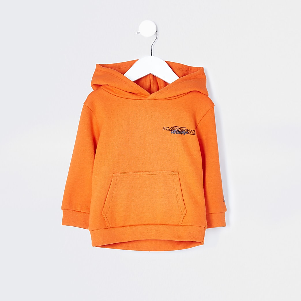Mini boys orange back print hoodie
