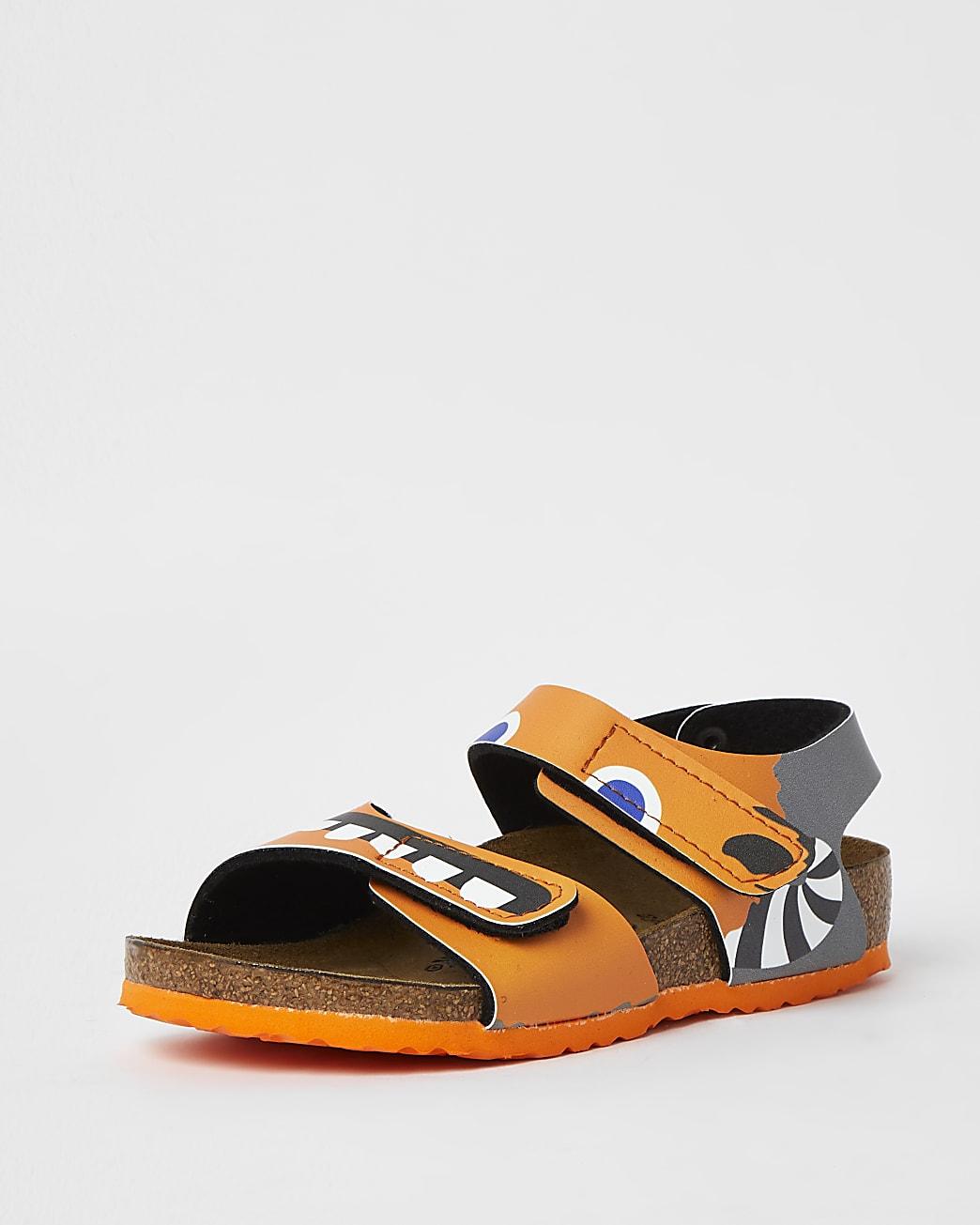 Mini boys orange Birkenstock strap sandals