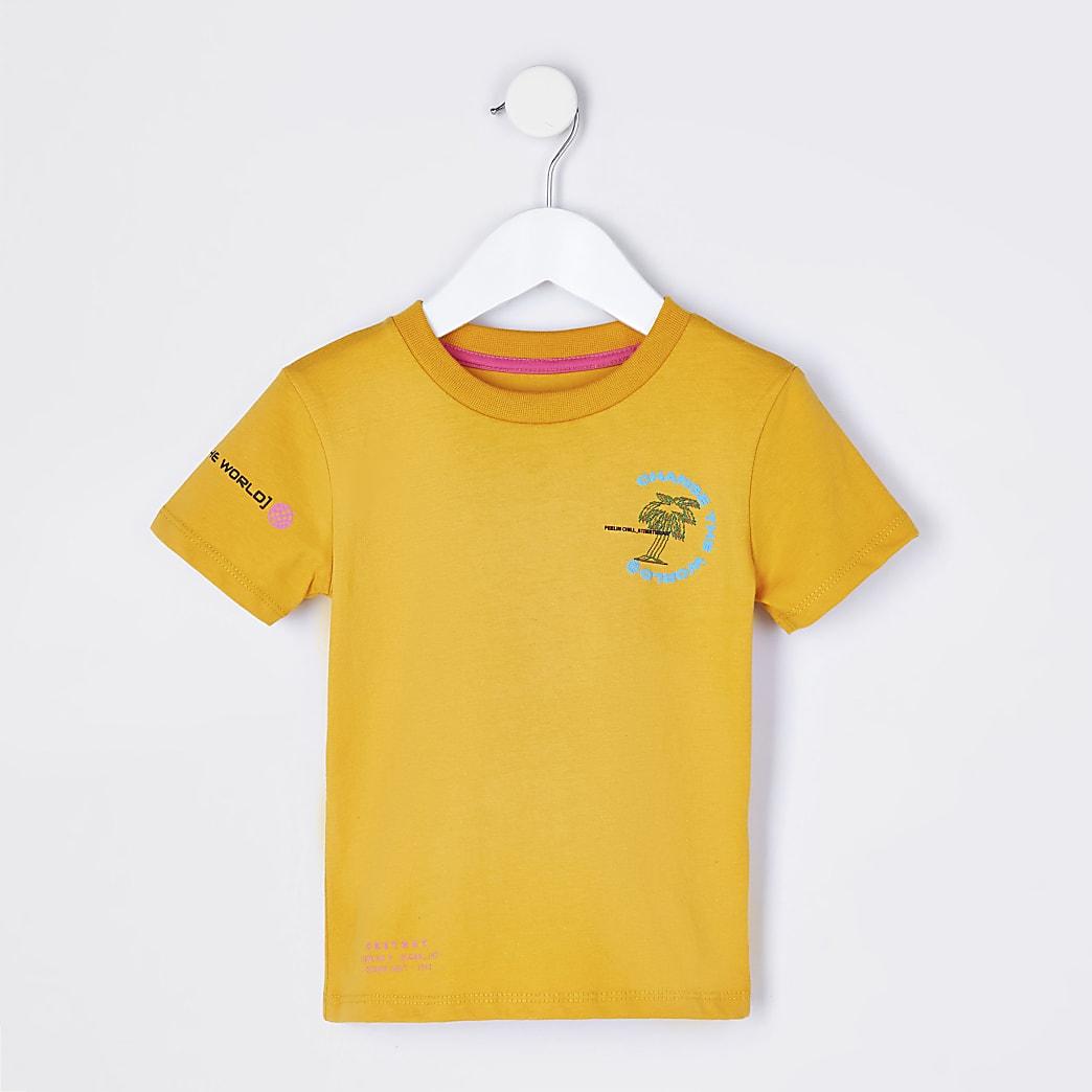 Mini boys orange 'Change The World' t-shirt
