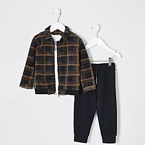 Mini – 3-Teiler-Outfit mit orange karierter Jacke für Jungen