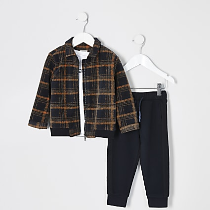 Mini boys orange check jacket 3 piece oufit