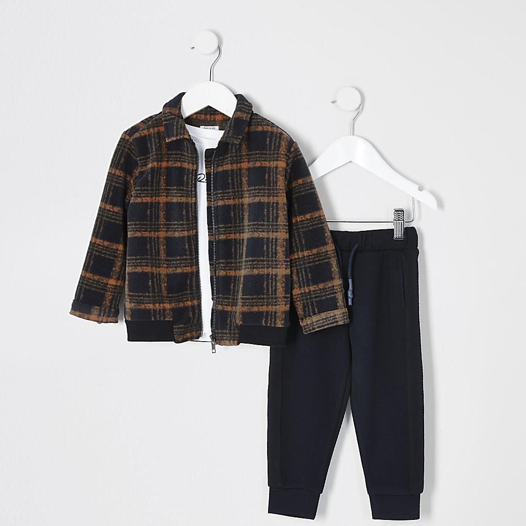 Mini - Oranje geruit 3-delig jack outfit voor jongens