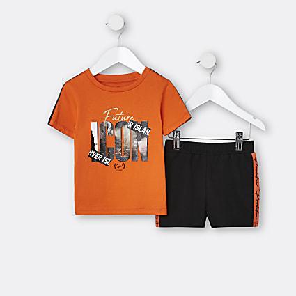 Mini boys orange 'Future Icon' t-shirt outfit