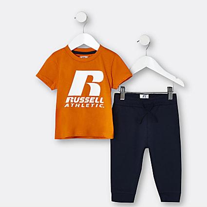 Mini boys orange graphic 2 piece outfit