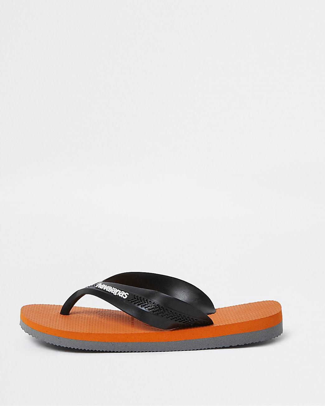 Mini boys orange Havaianas flip flops