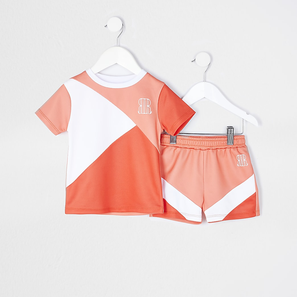 Mini boys orange mesh t-shirt and short set