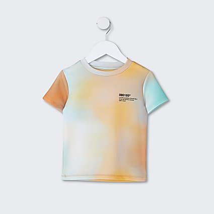 Mini boys orange ombre textured t-shirt