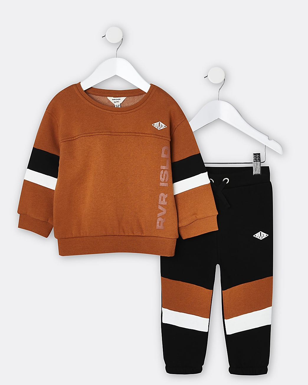 Mini boys orange RI sweatshirt and jogger set