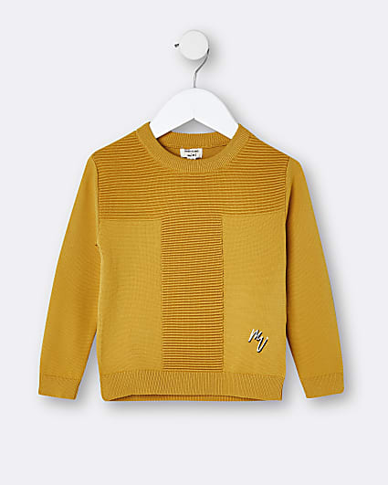 Mini boys orange ribbed crew neck jumper