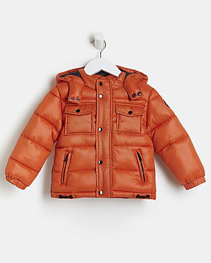 Mini boys orange River puffer coat