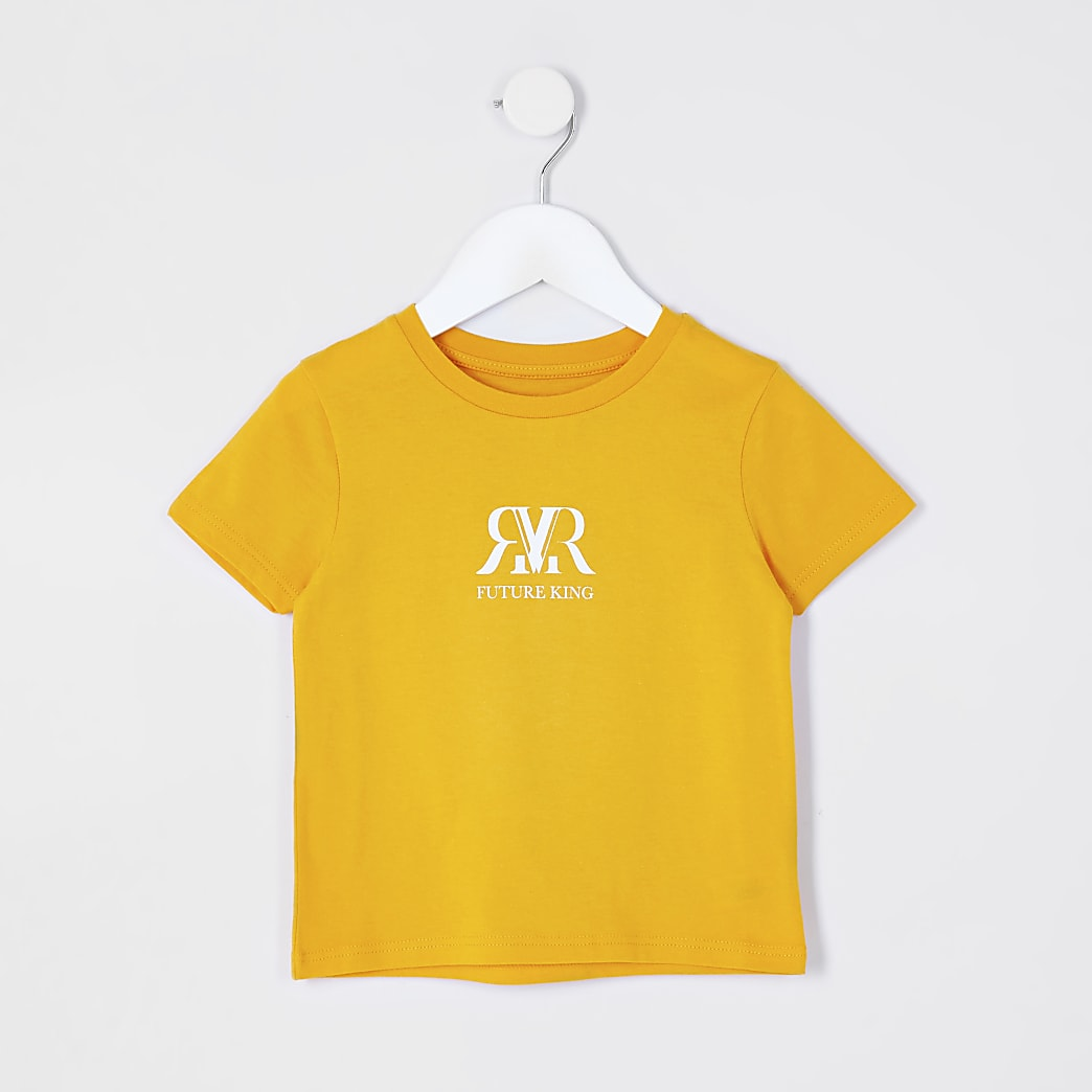 Mini boys orange 'RR' chest print t-shirt