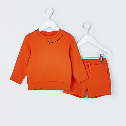 Mini boys orange sweatshirt outfit