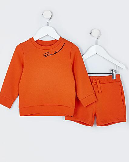 Mini boys orange sweatshirt outfit