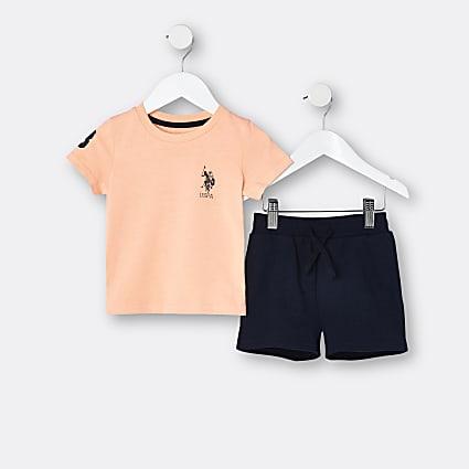 Mini boys orange USPA t-shirt and shorts set