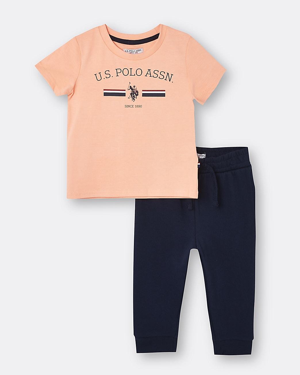 Mini boys orange USPA t-shirt outfit