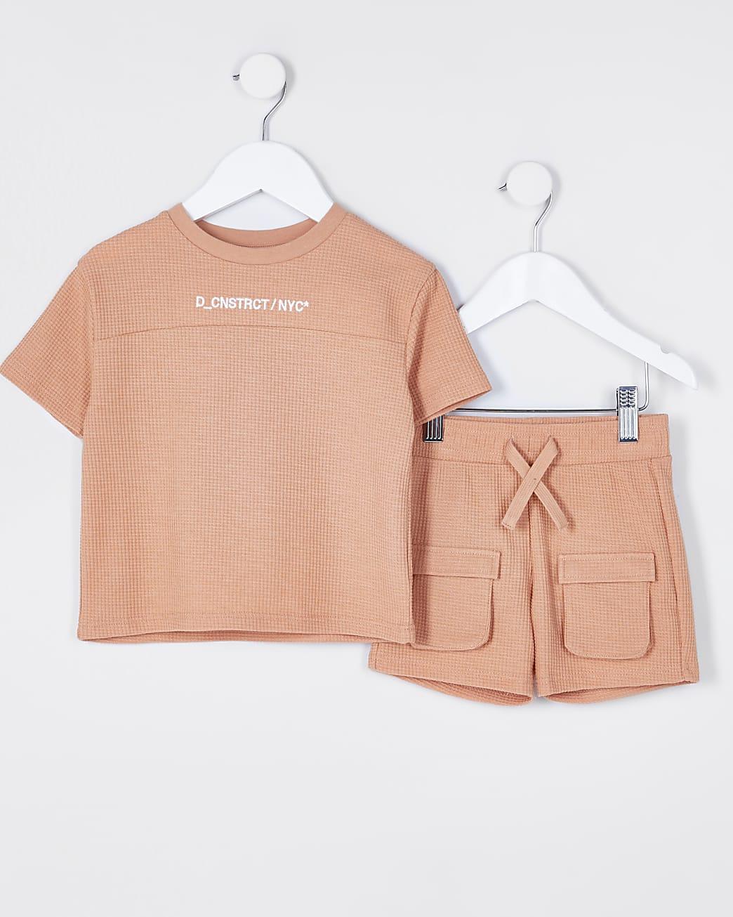 Mini boys orange waffle shorts outfit