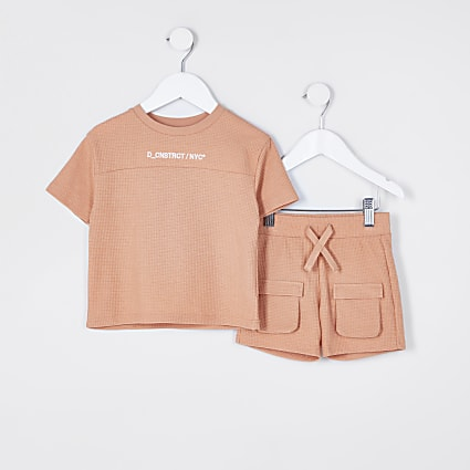 Mini boys orange waffle shorts outfit