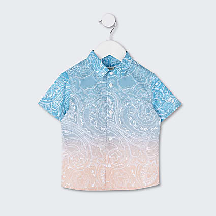Mini boys paisley ombre shirt