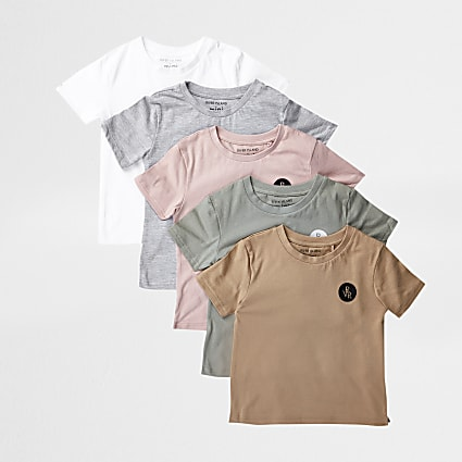 Mini boys pink 5 pack t-shirts