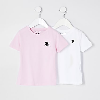 Mini boys pink and white 2 pack t-shirts